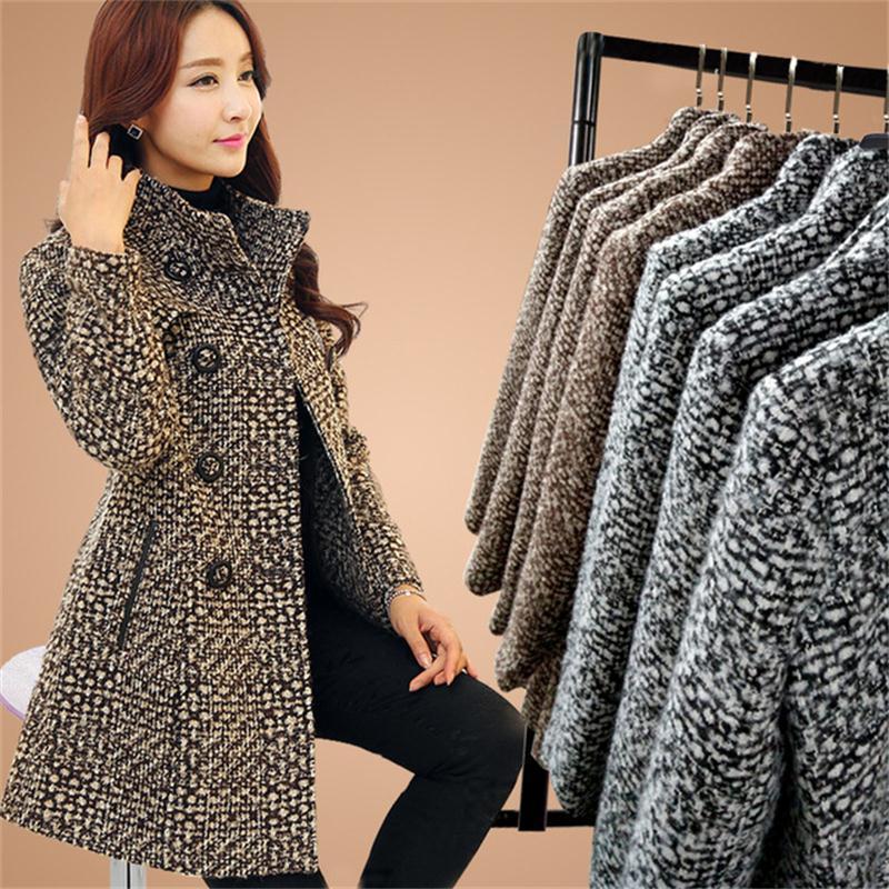 Orta yaşlı bayanlar yün ceket kadın uzun bölüm sonbahar ve kış yeni büyük boy yün ceket ceket moda kadın giyim LY191223