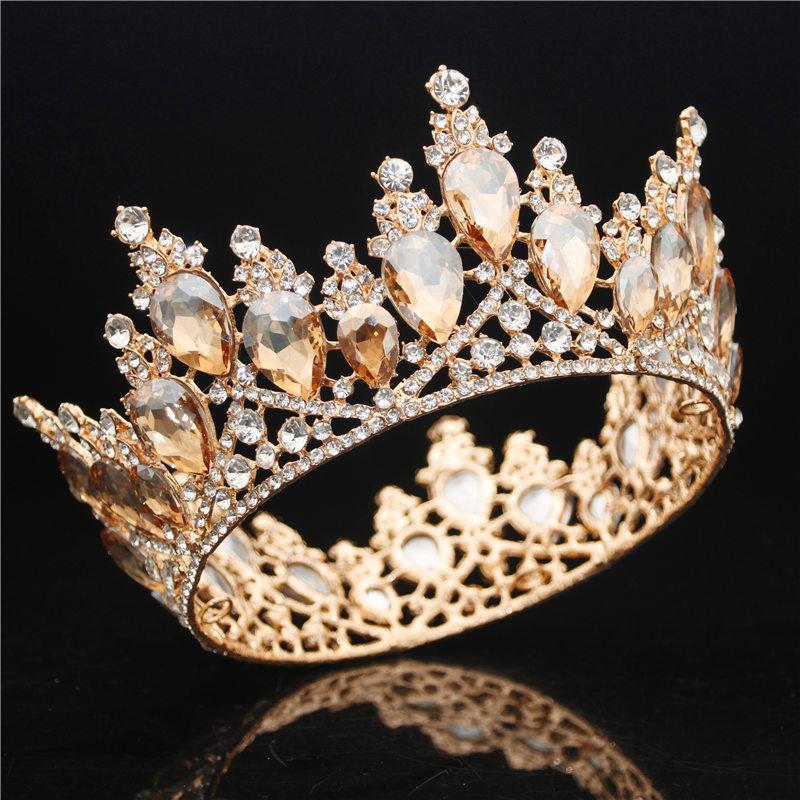 Luxury Baroque Tiara and Crown Crystal Rhinestone Full Circle Queen Bride Diadem