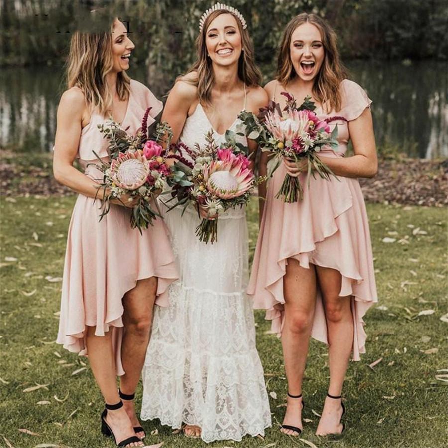 2020 Novo Estilo V dama de honra vestidos com decote Wedding Party Baixa Alta Ribbon Vestido tampado mangas curtas dama de honra Vestido