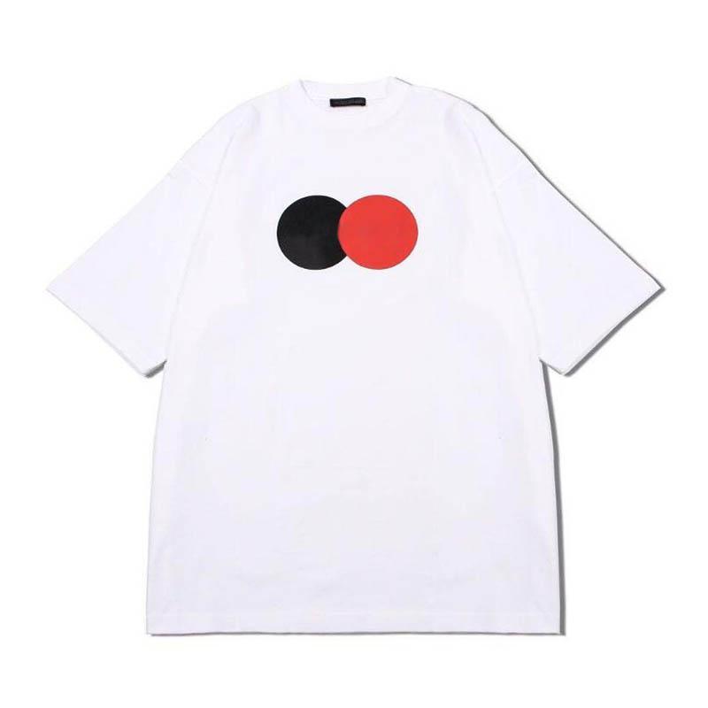 New Summer Letter Printed Tee Top Red and Black Circles Print Men Women T Shirts Fashion Short Sleeves Design T Shirts Fashion Men Clothing