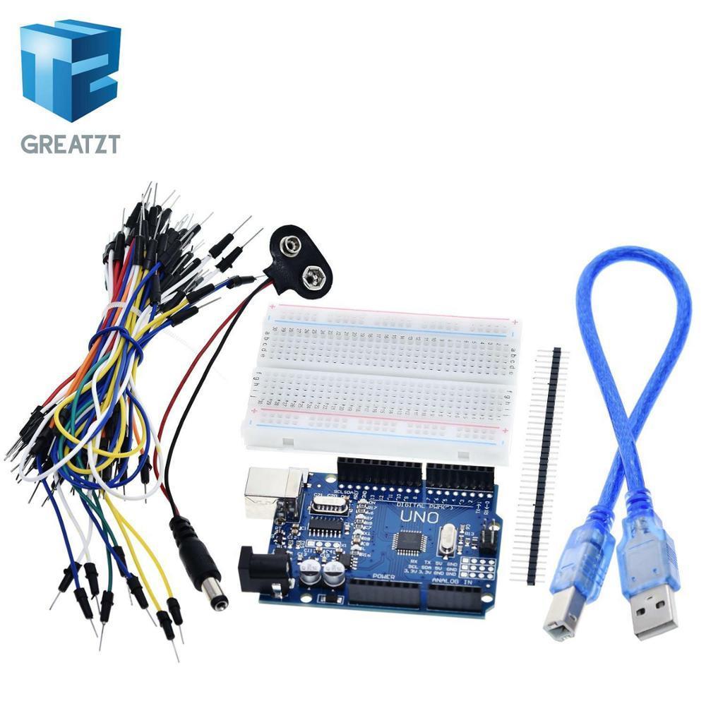 الدوائر المتكاملة مكونات نشطة GREATZT كاتب كيت لاردوينو أونو R3 - حزمة من 5 الأصناف: أونو R3، اللوح، أسلاك البلوز، USB