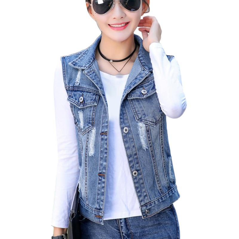 Женские жилеты Летние короткие джинсовые жилеты женщины плюс размер 4XL 5XL SpringCasual тонкий без рукавов дыра джинс пальто женский жилет