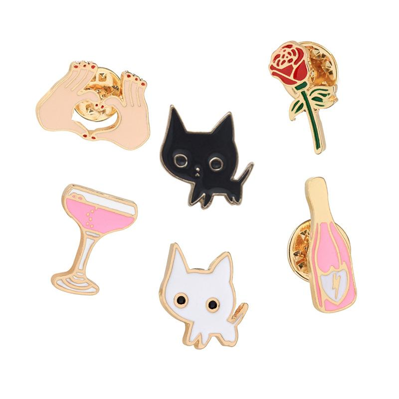 Lovely Cat Brooch Set Cute Cartoon Kitty Rabbit Brooch Pins Enamel Brooches Lapel Pins Clothes Bags Decoration Gifts for Woemn Girls
