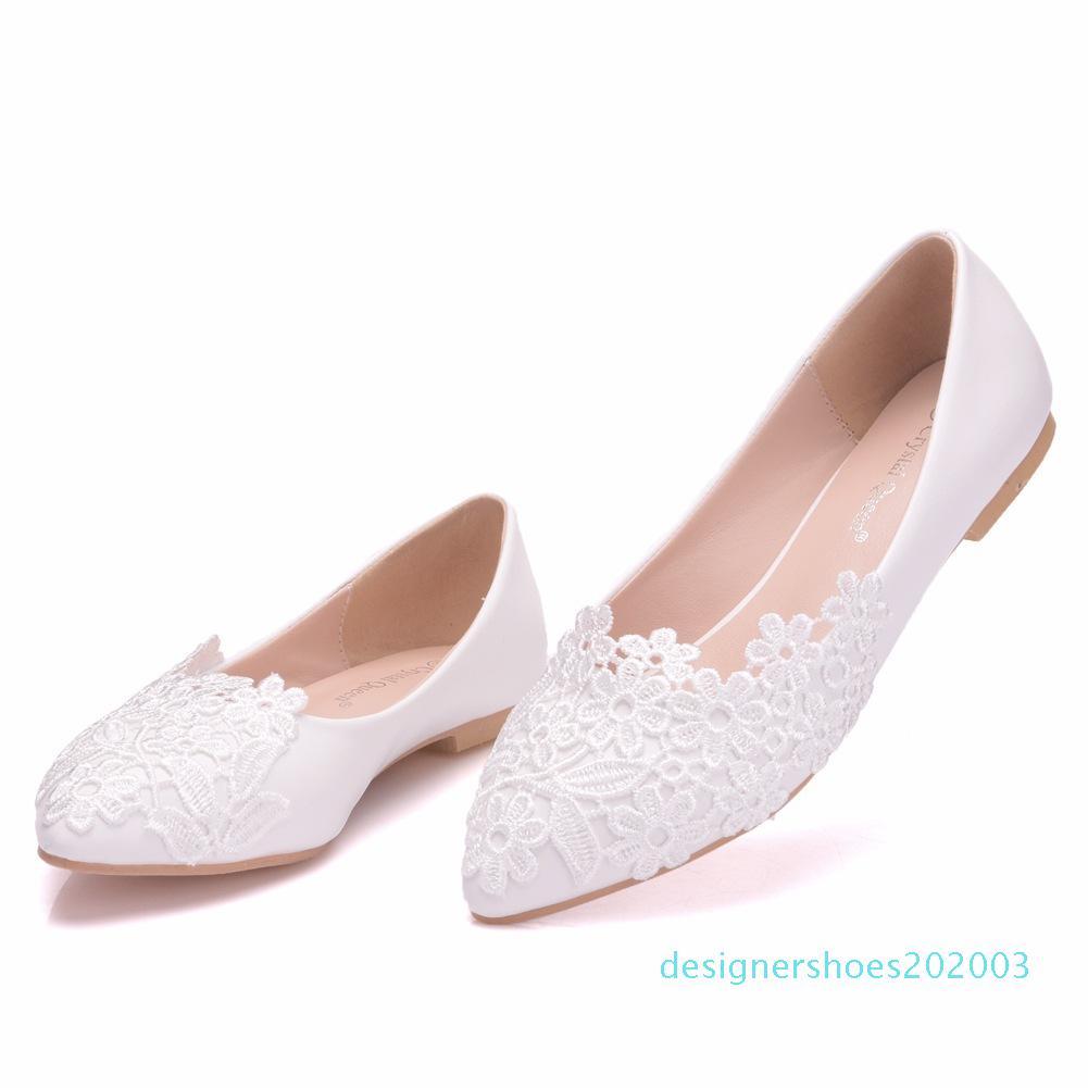 2020 zapatos de boda nuevo de la manera plana con cordones White señaló talones planos ocasionales mujer blanco Casual zapatos de tacón bajo Mujeres Weddingd03