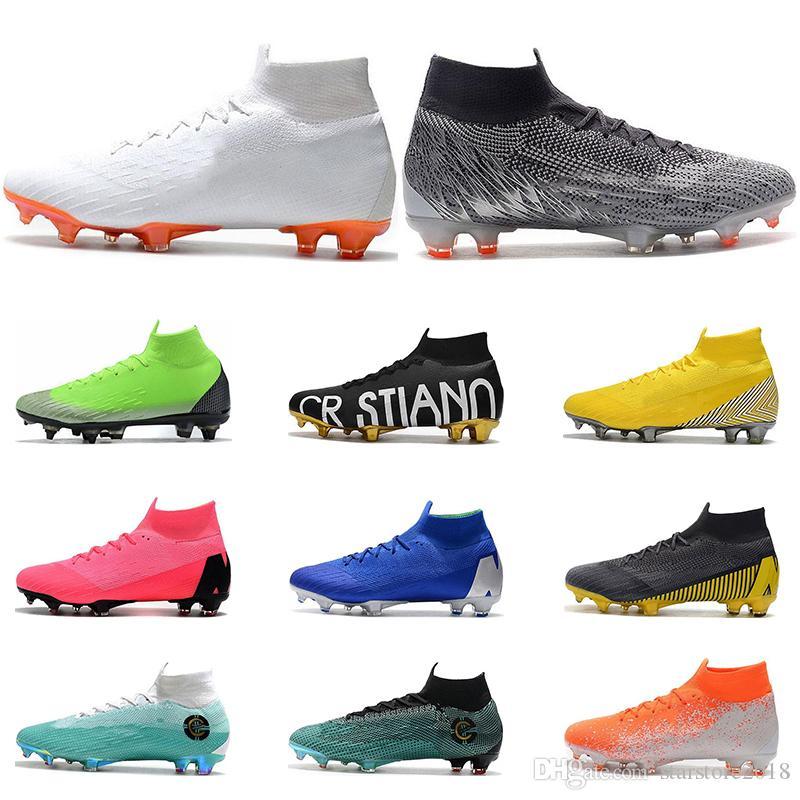 2020 최신 릴리스 VI 축구 신발 FG 블랙 골드 화이트 레드 옐로우 그린 Ronaldo Neymar 운동 남성 소년 축구 부츠 클리트 크기 39-45