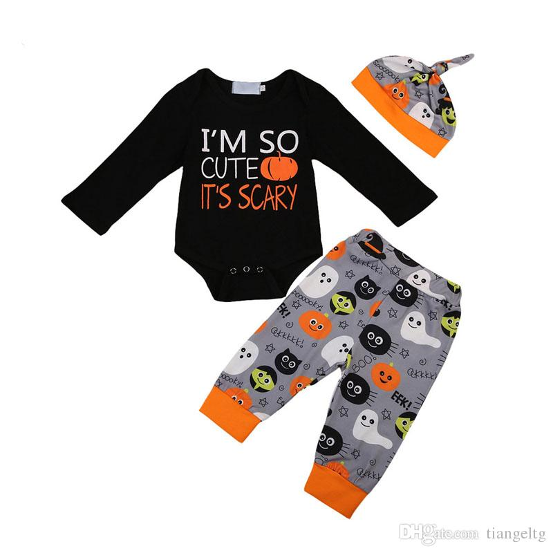 Baby Halloween Clothing Sets Pumpkin Letter Monster Printed Jumpsuit Kids Clothes Girls Printed Pants Hat 3Pcs Playsuit 0-2T 04