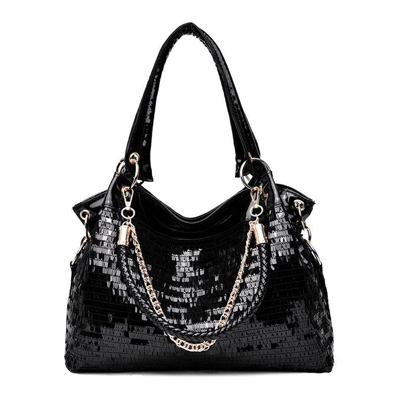 1Japan And South Korea Woman Package Paillette Hand Bill Of Lading Shoulder Package 2019 Big Structure Women Handbag