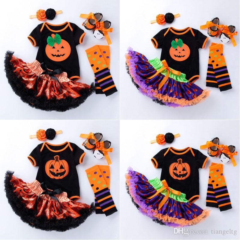 Girls Halloween Clothing Set 6 Colors Cartoon Pumpkin Printed Jumpsuit Bow Tie Shoes Mesh Lace Skirt Headband Leg Warmer 5Pcs Outfit 0-2T 04