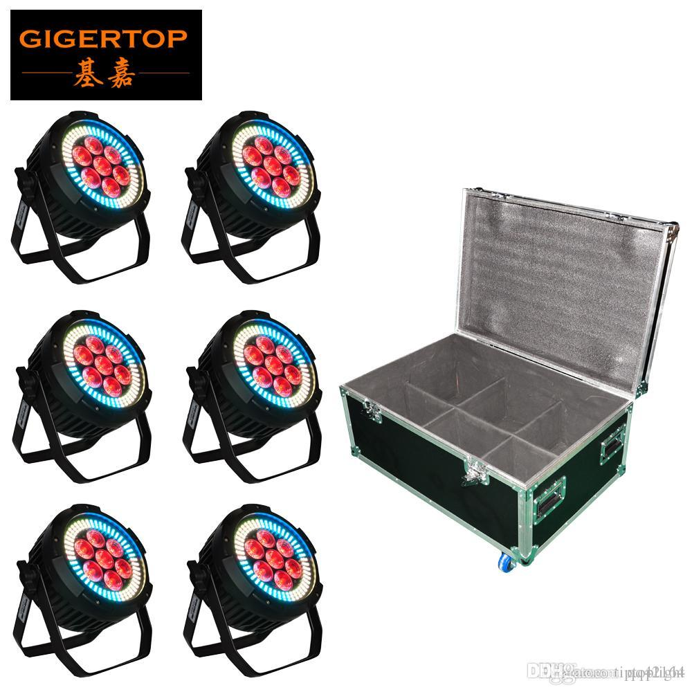 6in1 кейс пакет 7x12W RGBWAP 6in1 Алюминий LED PAR Light 144pcs RGB 3IN1 Color Ring Индивидуальный контроль Нет шума Нет Flicker