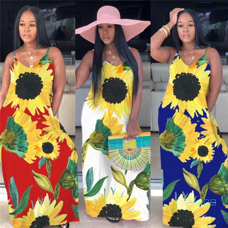 2020 подсолнечное принт Женское длинное платье без рукавов Mixi платья летний жилет Майка юбки Bodycon мода Sexy Party Club Beach Dress D5507