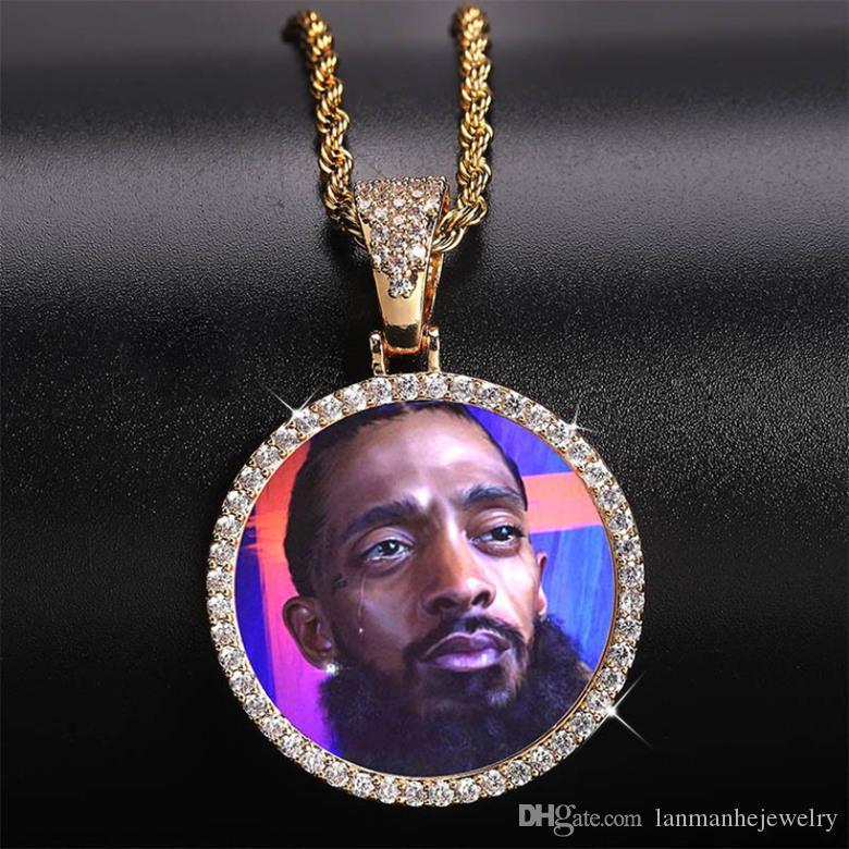 Özelleştirilmiş Fotoğraflar Kolyeler Takı Moda 18 K Altın Kaplama Daire Bellek Kolye Kolye Bling Zirkon Kaplamalı Hip Hop Kolye LN129