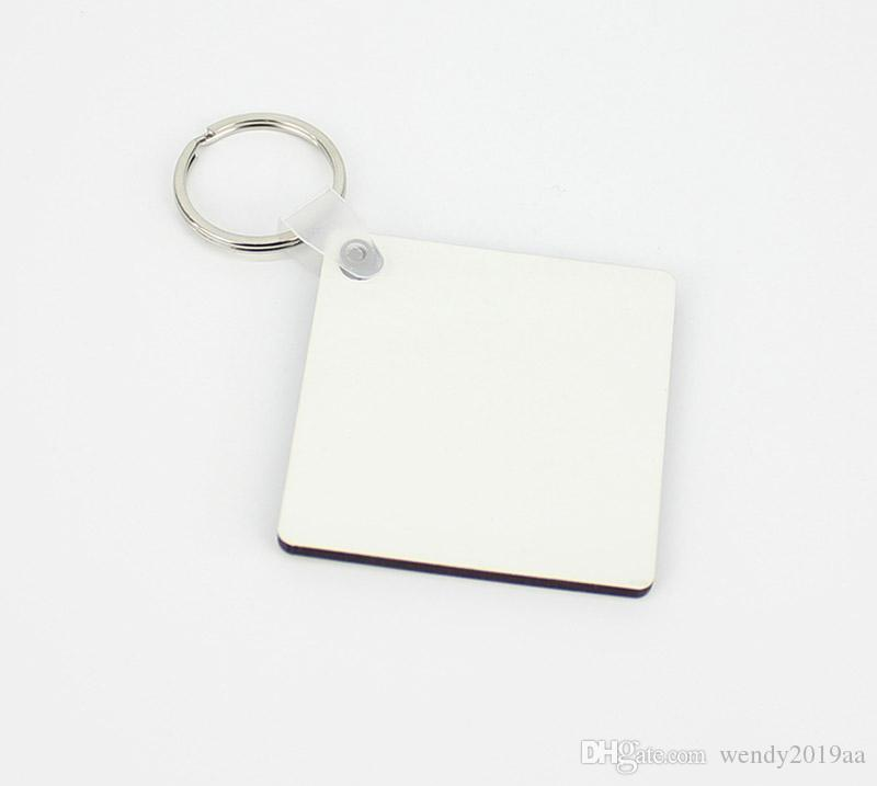 10 قطع من جانب التسامي فارغة mdf مربع خشبي المفاتيح الحرارية نقل الطباعة شخصية الإعلان هدية مخصصة ل حقيبة أجزاء