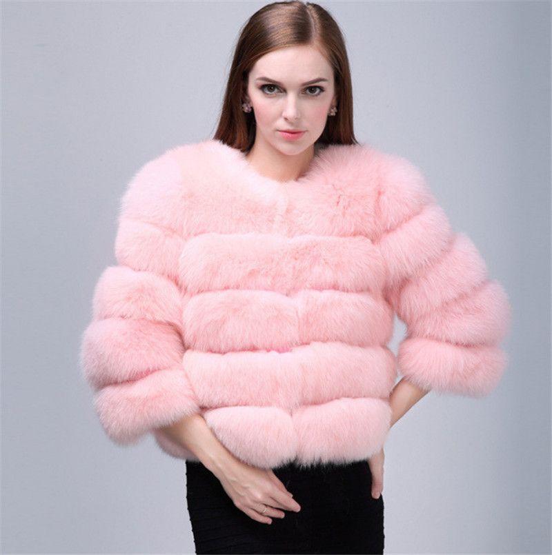 Womens Faux Fur Coat Warm Luxury Short Winter Fur Collar Outwear Jacket Parka