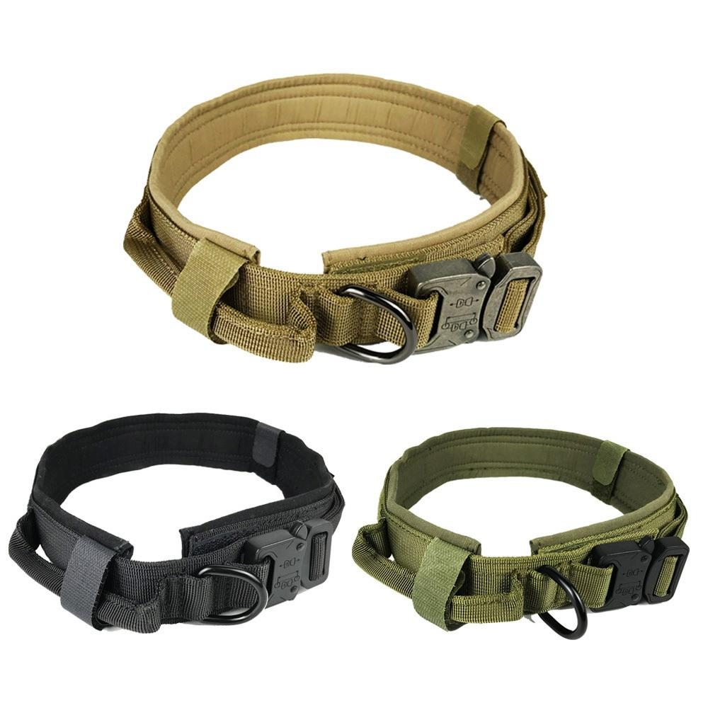 Soft Nylon Dog Collar Dog Neck Tactical Training Collar Pet Military Collar Dog Police Pet Products For Puppy Pet Products Y200515