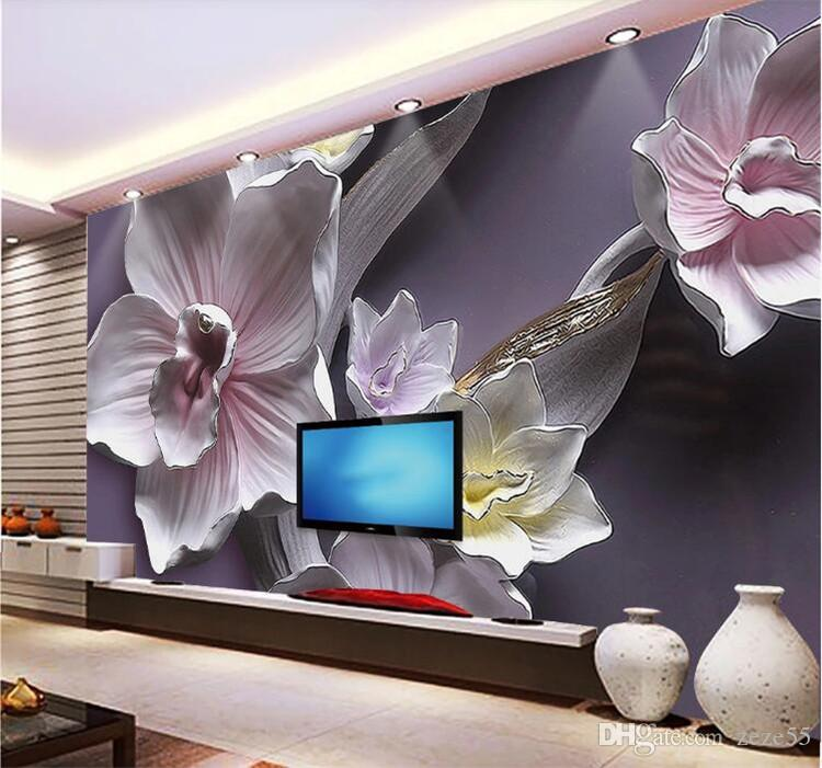 3D Stereo Relief Flowers Mural Wallpaper Living Room TV Sofa Background Wall Covering Classic Floral Home Decor Papel De Parede