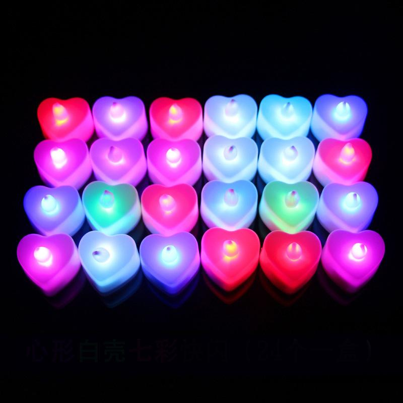 Heart Shaped свет батарейках Flicker беспламенной светодиодные Tealight чай свечи Свет Свадьба День рождения Рождественские украшения 20boxes
