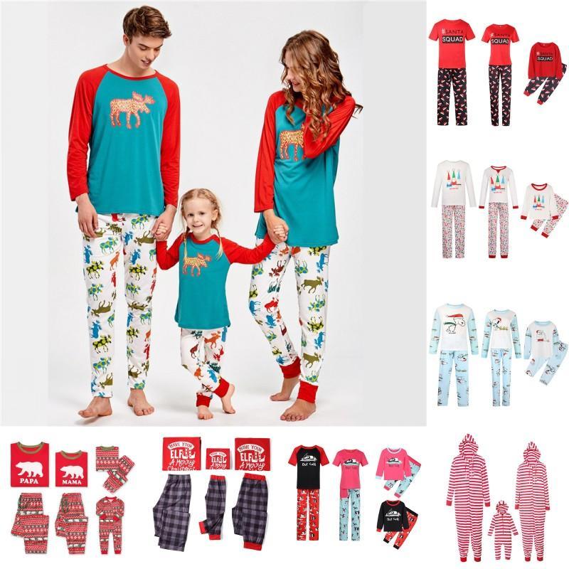 Christmas Matching Family Pajamas Striped Nightwear Cartoon Printed Kids Sleepwear Papa Mom Baby Family Pajamas Sets BY1300