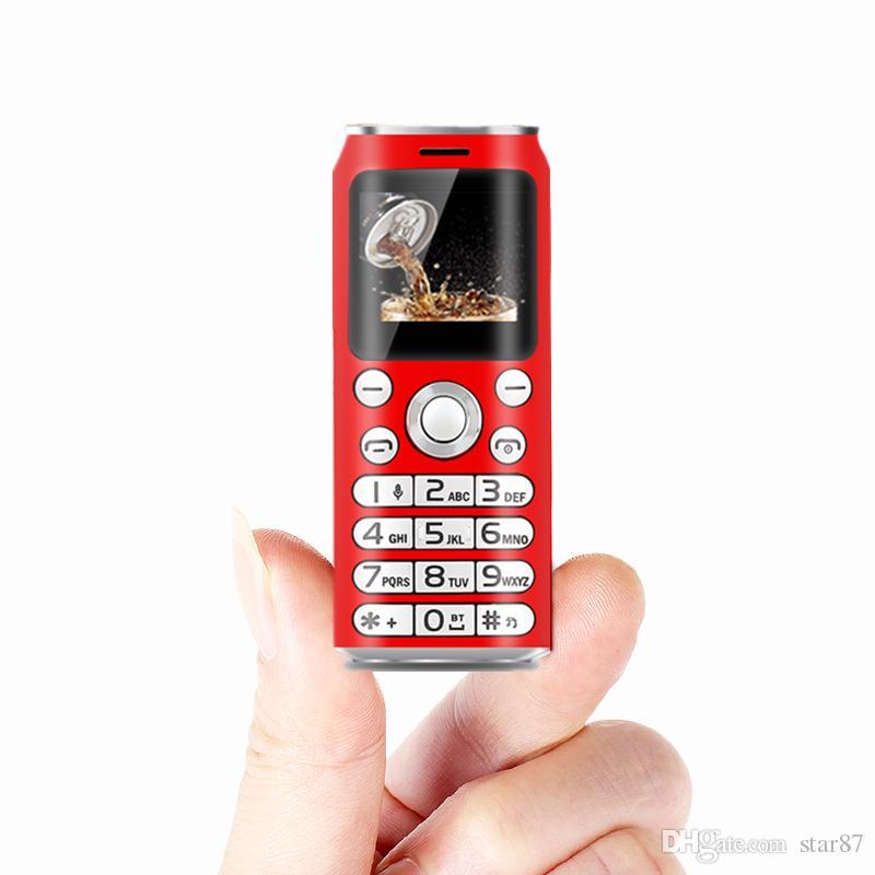 Desbloqueado Super mini Dibujos animados Teléfono móvil Diseño de moda Cola forma Marcador Bluetooth Grabador de llamadas telefónicas MP3 Dual SIM El teléfono celular más pequeño