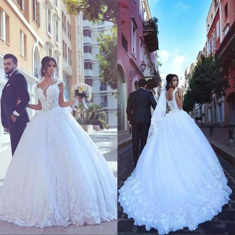 Vestido de Noiva Arabisch een lijn 2020 Trouwjurken Vintage Kant Tulle Lace Up Applique Plus Size Bruiden Jurk Robe de Mariage