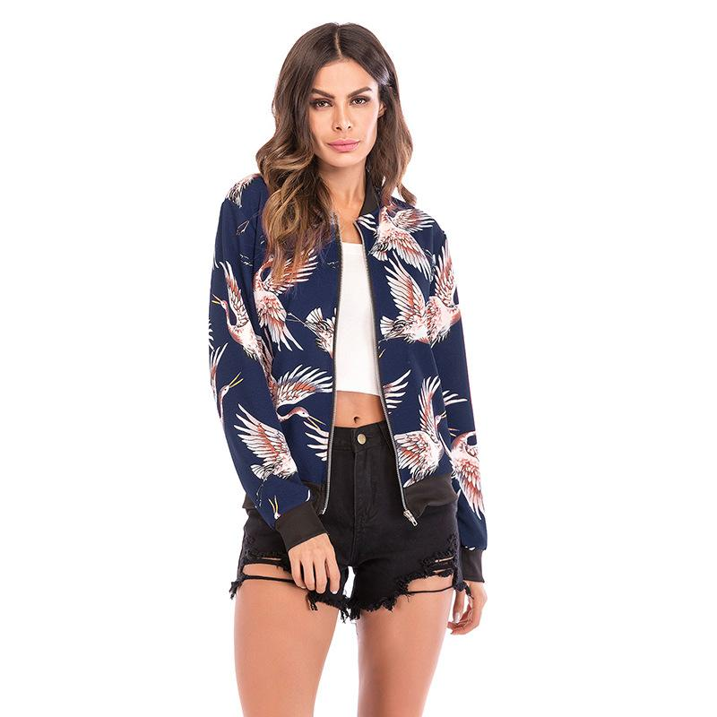 Spring and autumn women's new European and American casual women's printed baseball uniform jacket women's slim jacket round neck long sleev