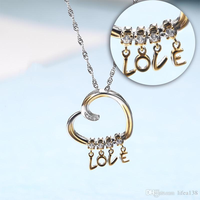 Neue Ankunft 925 Sterling Silber Benutzerdefinierte Liebesbrief Halskette Silber Anhänger Schlüsselbein Luxus Kette Für Liebhaber Mädchen Mutter Geschenk