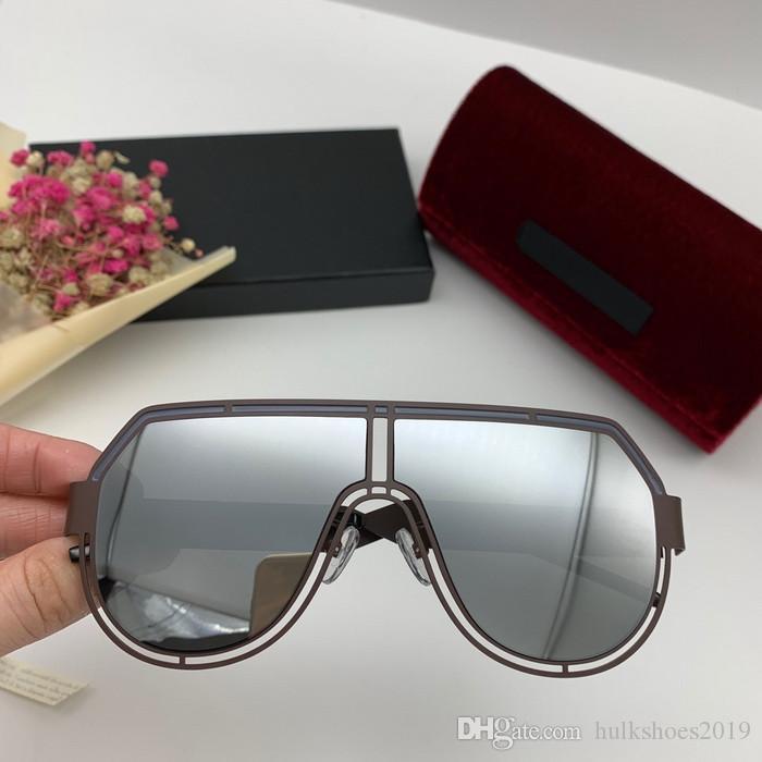 Polarizada Sun Glasses One Piece Itália Sunglasses superar metal Mulheres Homens Homens Luz Piloto Espelho Shades UV400 Com Box