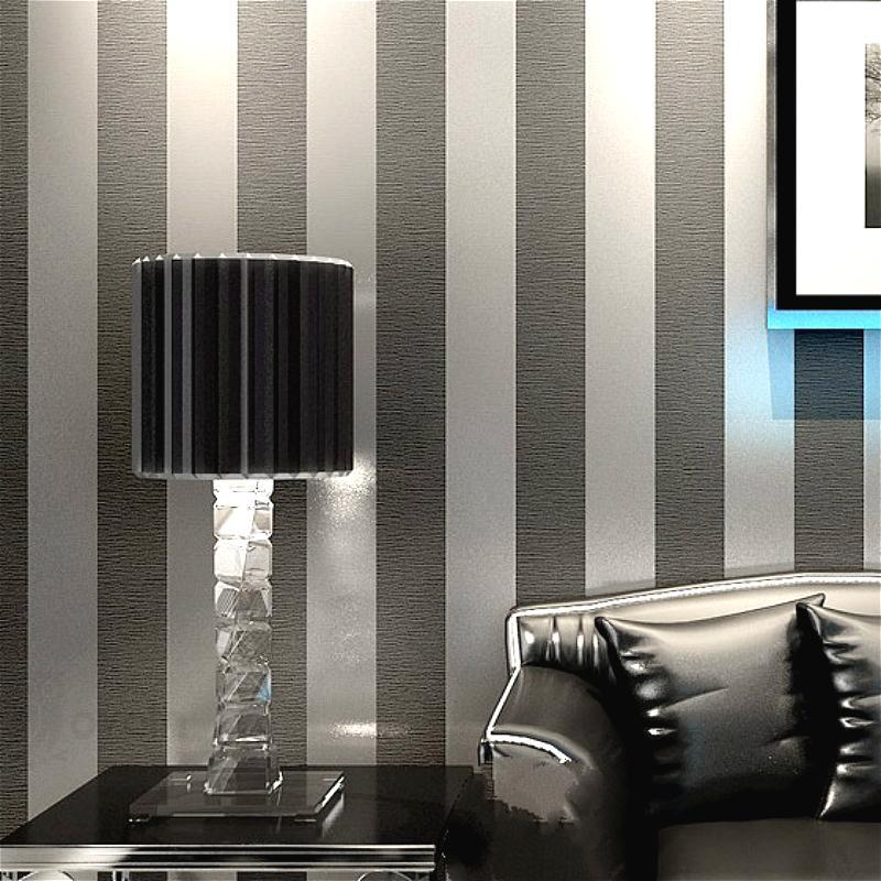 El papel para pared vertical de papel pintado a rayas Decoración para sala de estar dormitorio Revestimientos Negro metálico de plata moderna de lujo
