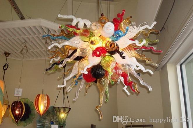 Современное замечательное цветное стекло Кристаллическая подвесная лампа Рождественские украшения Главная Муранская Стеклянная Люстра Светодиодные Светильники Чихулы