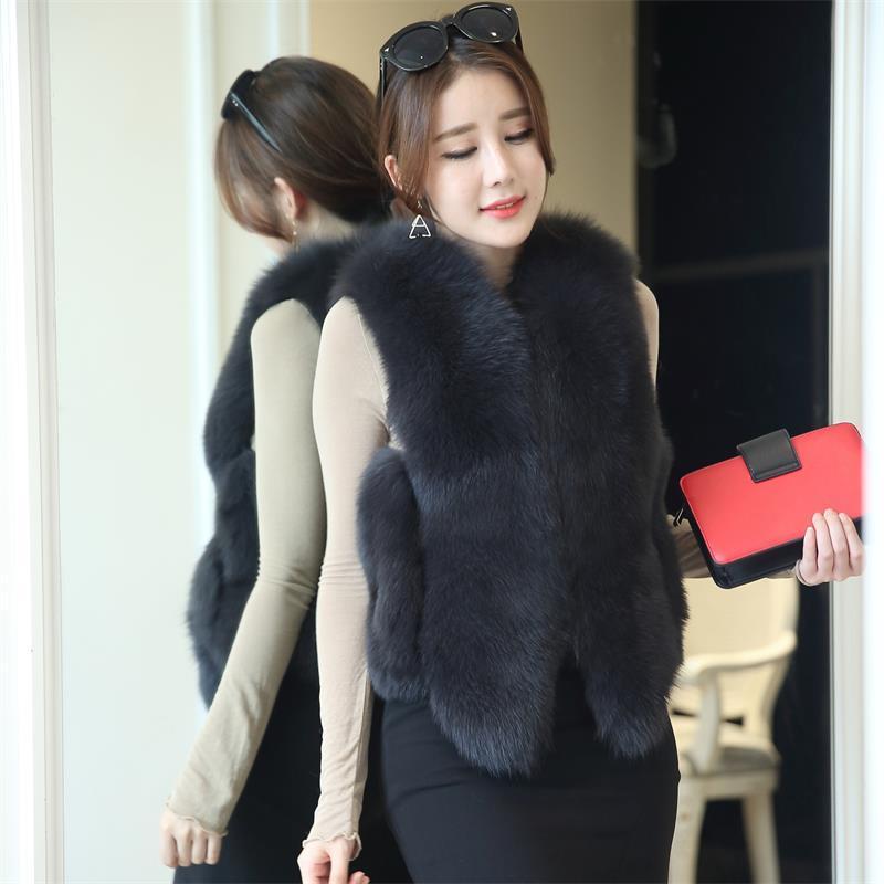 2019 Designer de Moda Inverno Luxo Fox Fur Vest Mulheres Quente regular Revestimento curto do revestimento Colete Variety Cor Faux Outwear atacado