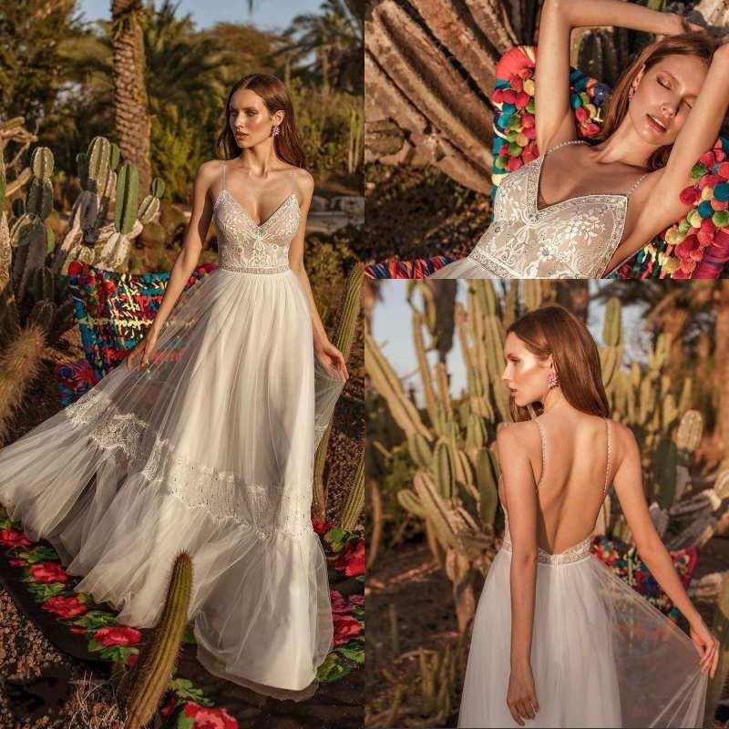 2020 Estilo Vintage Beads espaguetis boda vestidos sin espalda apliques una línea vestidos de boda de la longitud del piso vestido de novia Vestidos de novia de Boho