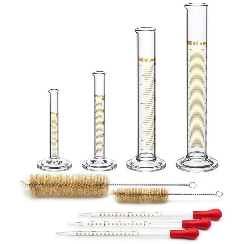 PPYY NEW -4 Messzylinder - 5 ml, 10 ml, 50 ml, 100 ml - Premium Glass - Enthält 2 Reinigungsbürsten + 3 x 1 ml Glaspipetten