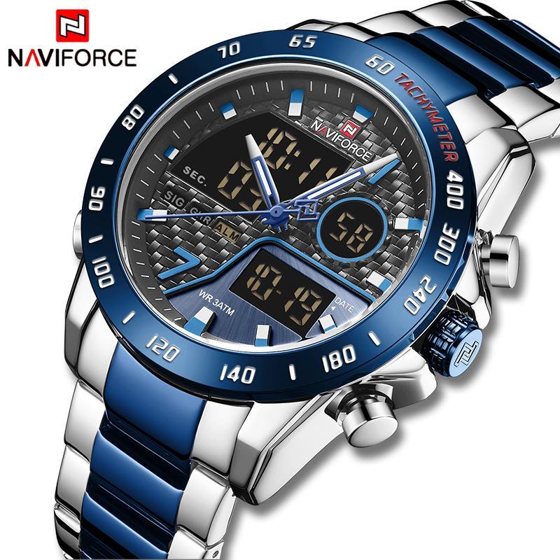 NAVIFORCE Mann-Quarz-Uhr-LED Sport Herren Armbanduhr Male leuchtendes wasserdichtes Mal Uhr Datum Uhren Relogio Masculino