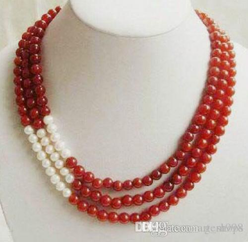 FFREE SHIPPING**Wonderful 3 Rows 8mm Red Ruby and White Pearl Necklace17-19''