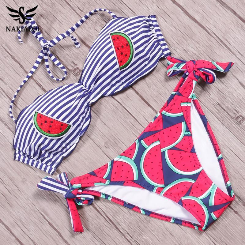 NAKIAEOI 2020 Seksi Halter Bikini Bayan Mayo Push Up Mayo Nakış Meyve Baskılı Brezilyalı Bikini Seti Yıkanma Suits