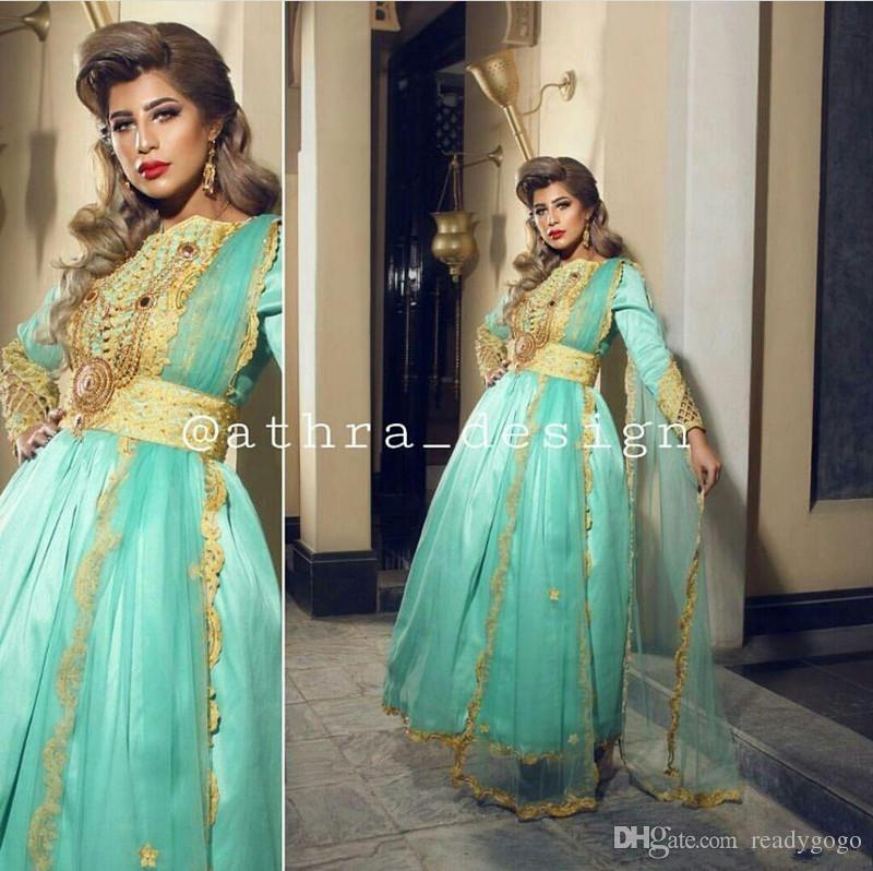 2019 Prom Dresses Middle East Caftan Gold over Mint Green A Line Bateau Neckline Long Sleeeves With Tulle Sash evening gown