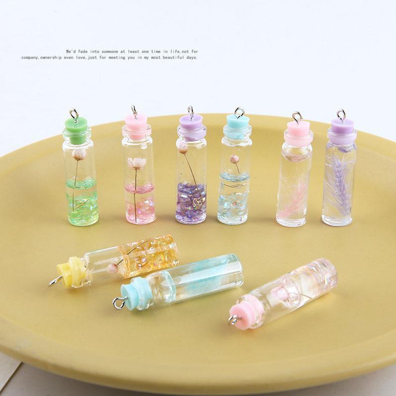 Diy takı küpe / kolye kolye aksesuar 30pcs / lot Cam şişe şekli 11 * 42mm Çiçek dekorasyon moda takılar
