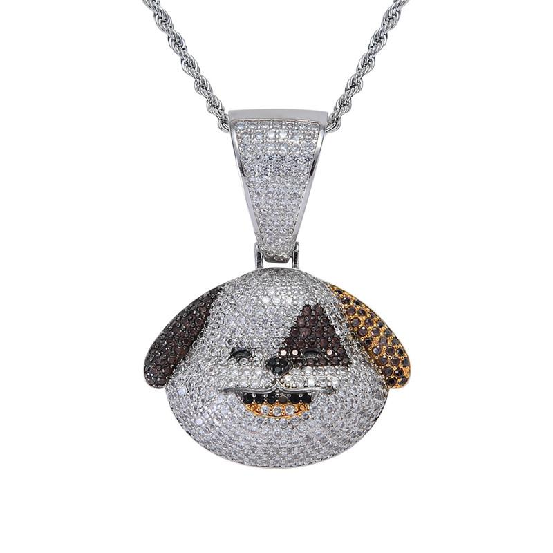 Spotty Dog Pendant Necklace Gold Plated Copper Inlaid Cubic Zirconia Dog Pendant 60cm Chain Unisex Accessories