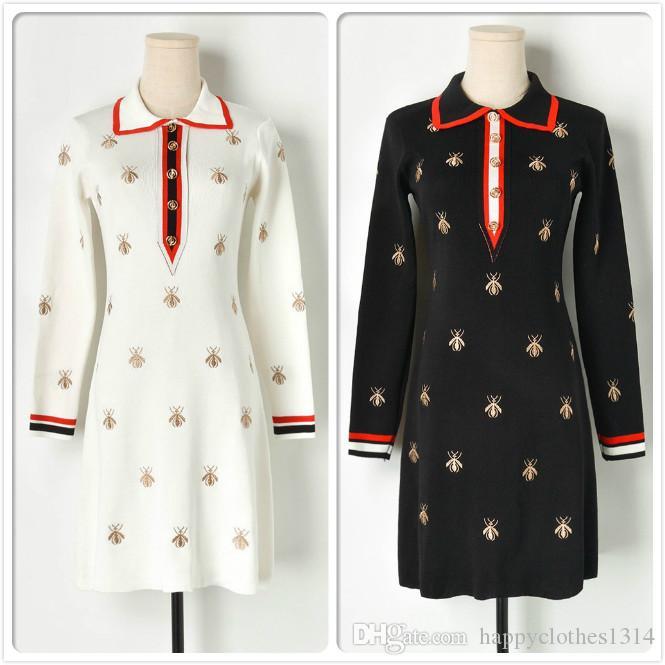 Top Quality Inverno Bordado Vestido Para As Mulheres de Moda de Luxo Das Mulheres Queda Camisola Vestido Elegante Escritório Senhora de Negócios Magro Vestidos de Malha