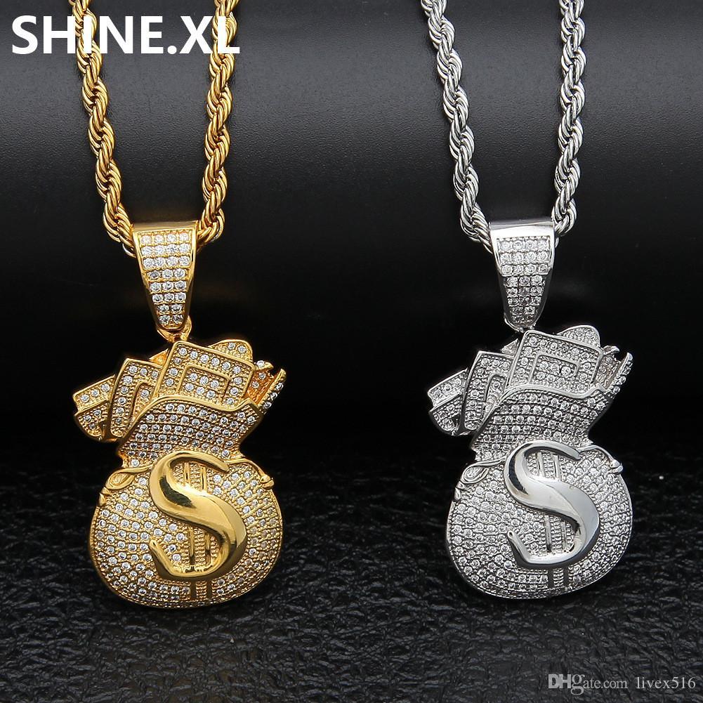 Mens Hip Hop Bijoux Or Argent Couleur Plaqué ICED OUT Pendentif Argent Zircon Dollar Sacs Collier
