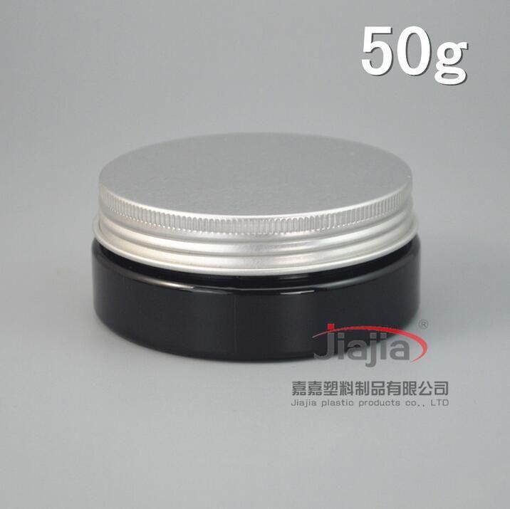 50 г черного ПЭТ банку, 50g блестящие черные Крем Банки с серебряной алюминиевой крышкой, Крем Jar Косметическая упаковка