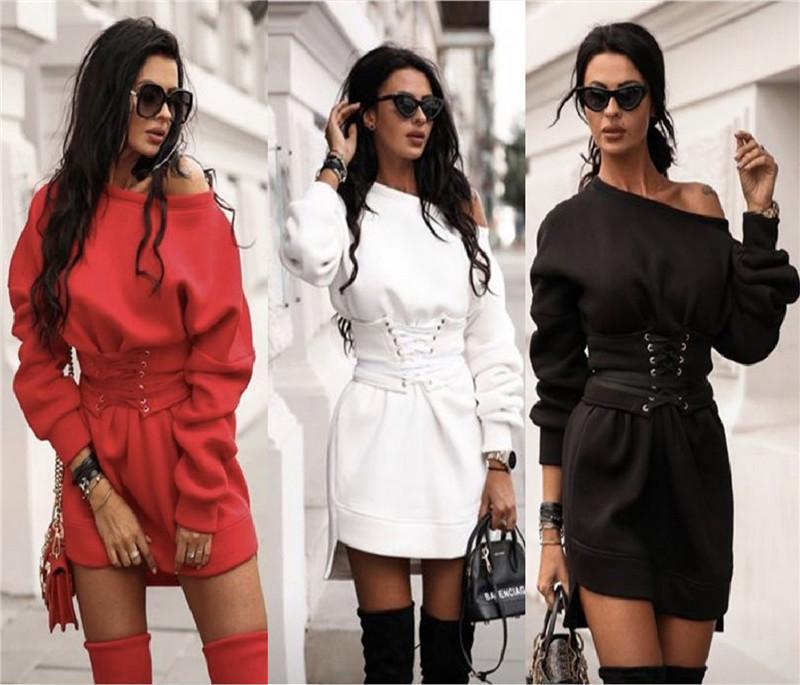 Moda Soild Casual vestido solto do pescoço de grupo das senhoras do desenhador Aqueça Magro Roupas Femininas Sashes Vestidos