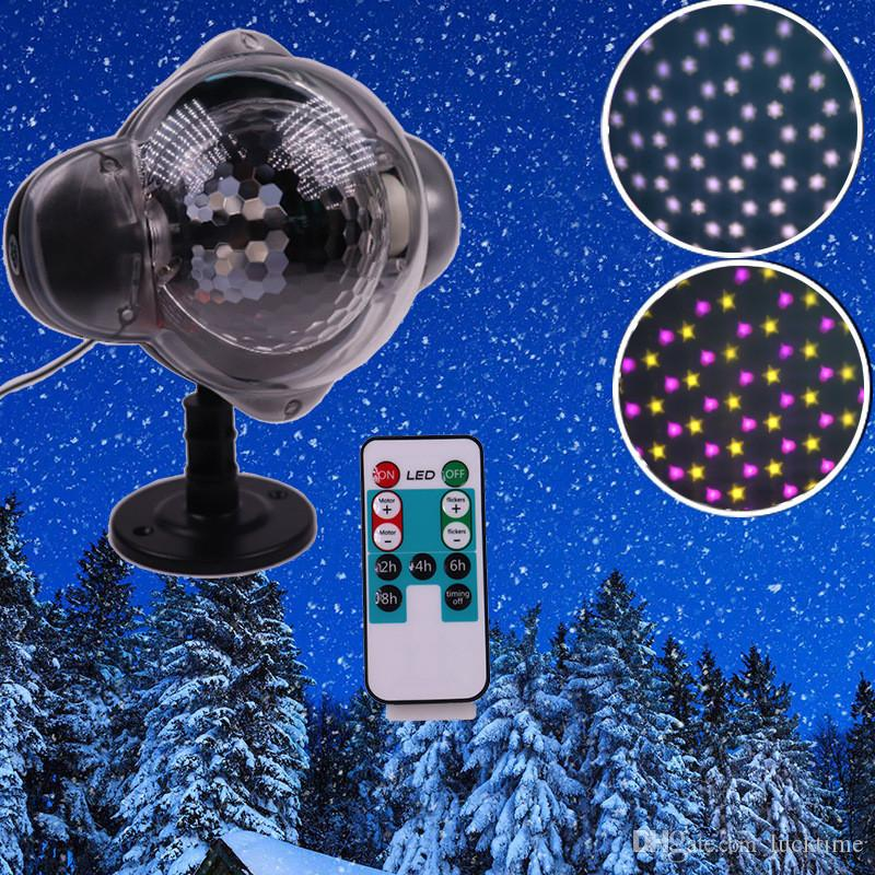 2 en 1 nevadas de luz LED lámparas de césped Proyector impermeable Spotlight dinámico efecto de la nieve del copo de nieve de luz de la lámpara decorativa interior al aire libre