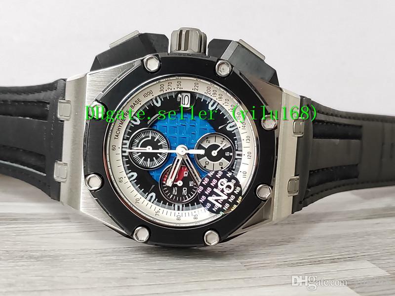 N8 Заводская роскошь лучшие продажи качества мужские часы 44 мм 26078RO черные кожаные ремешки VK Кварцевый хронограф рабочие мужские часы Часы