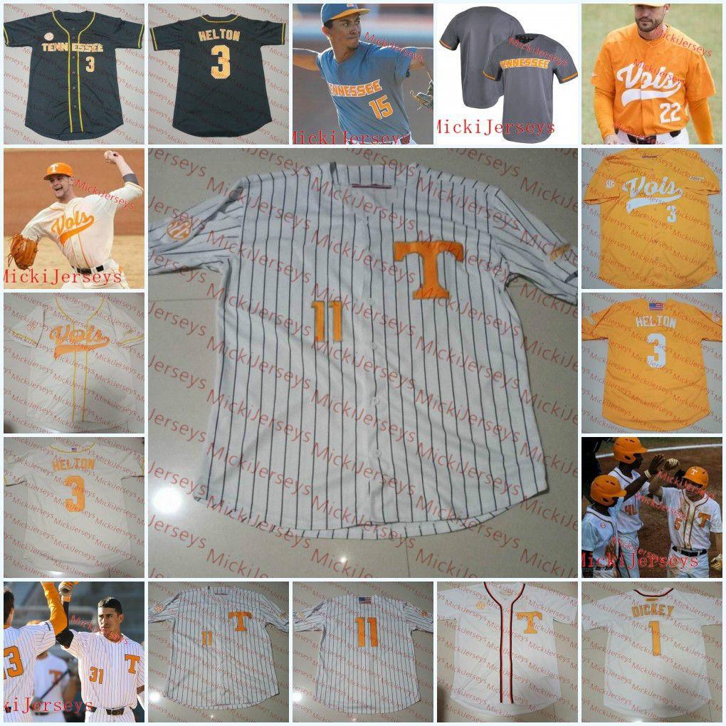 Erkekler Özel Tennessee Gönüllüleri Beyzbol Jersey Andre Lipcius Jay Charleston Ricky Martinez Justin Ammons Garrett Stallings Tennessee Jersey