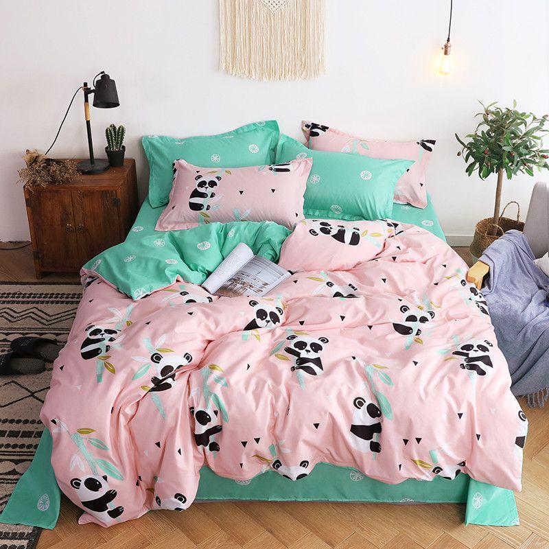 Panda Design-Muster Bettwäsche mit Kissensteppdecke Abdeckfolien King-Size-Betten 4-teilig für Kinder Einzel Größe Bettwäsche