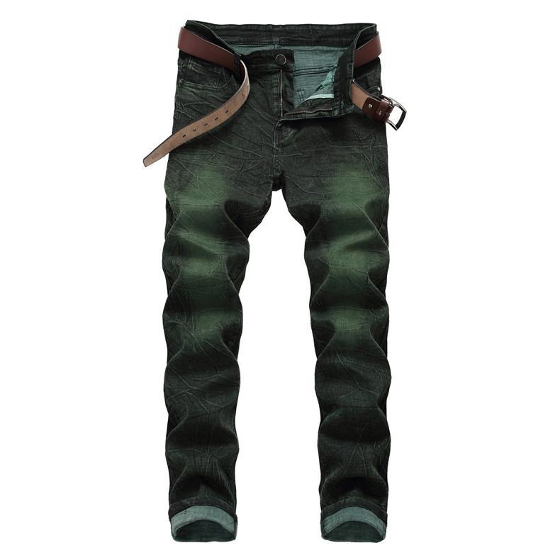 Jeans Green Men Hip Hop Slim Jeans Biker Destroyed Fry Snowflakes Slim Fit Pantalon en denim élastique Streetwear NO Ceinture
