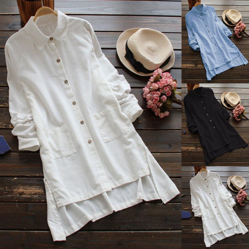 Moda para mujer blusas y blusas Mujer Tallas grandes Mujer Manga larga Loose Casual Botón de bolsillo Blusas largas Camisa Blusa Blusas