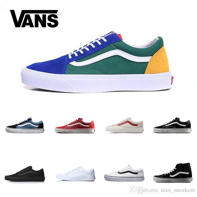 Brand Vans Old Skool For Men Women Casual Shoes Canvas Sneakers Black White Red Blue Fashion Cheap Sport Skateboard Shoe Top Sale Online Sneakers