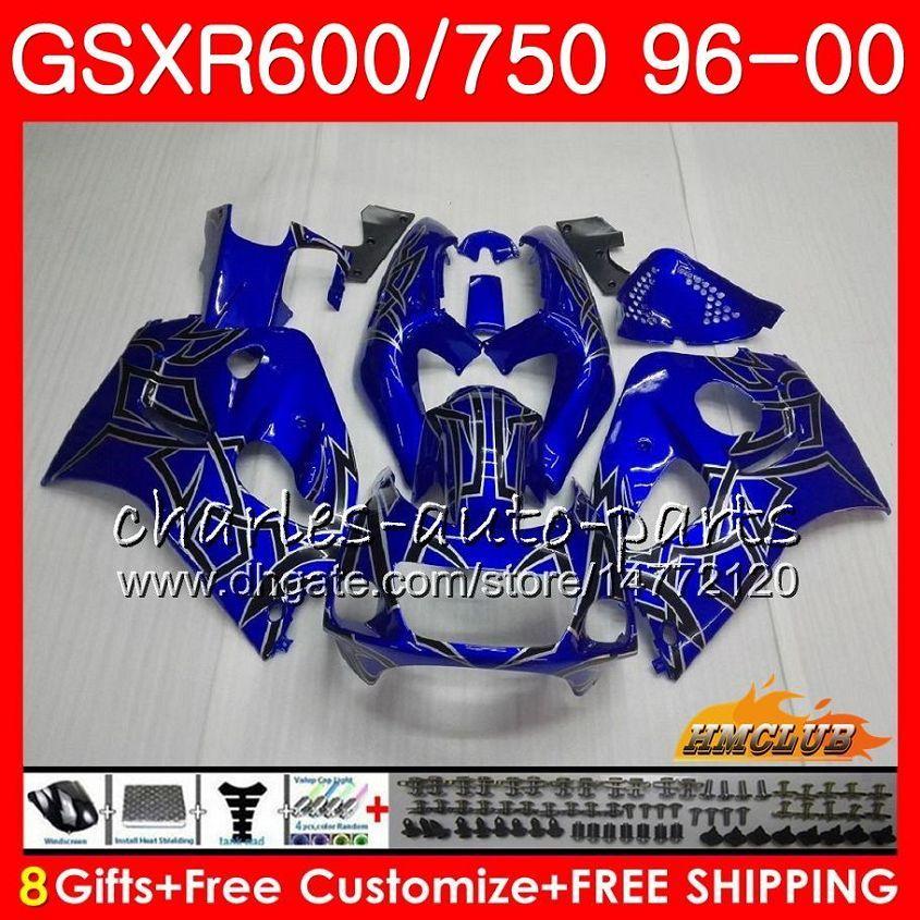 Cuerpo azul plateado para Suzuki SRAD GSXR 750 600 GSXR-600 GSXR750 96 97 98 99 00 1HC.6 GSX-R750 GSXR600 1996 1997 1997 1999 1999 2000 Kit de carenización