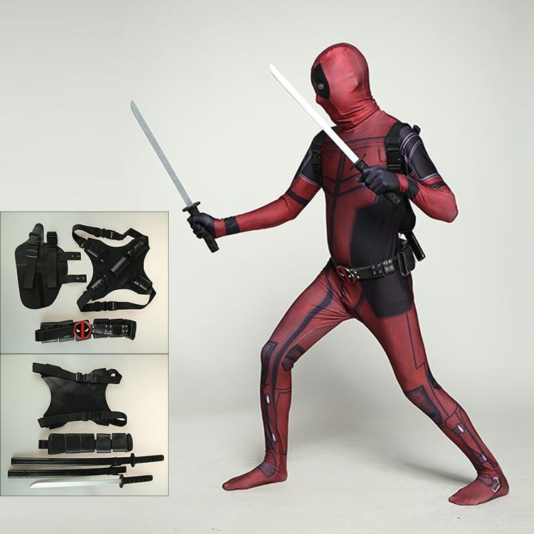Marvel Deadpool Copricapo corsetto body pieno accessori costume costumi Marvel Deadpool copricapo corsetto la tuta piena cosplay costume A